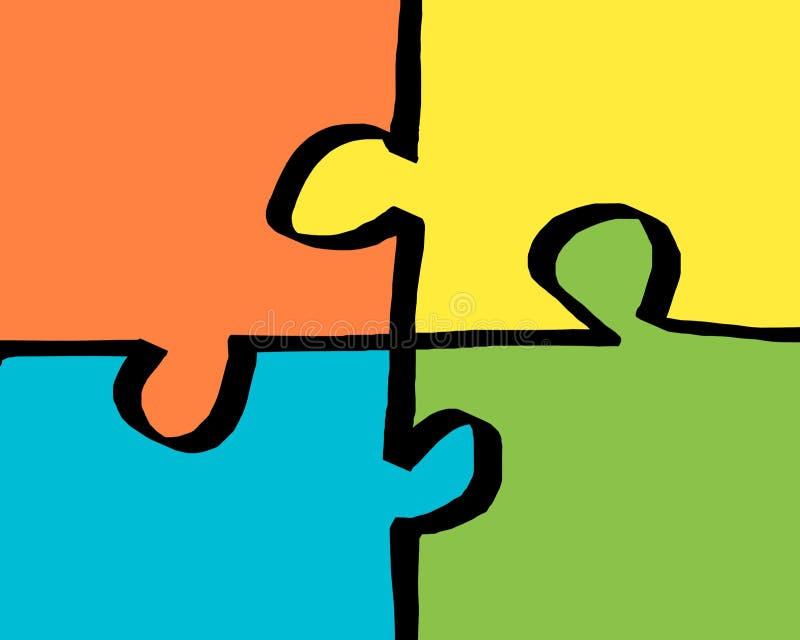 Bleu jaune orange et casse-tête vert 4 morceaux illustration libre de droits