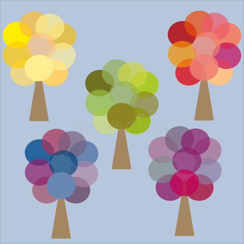 Bleu lilas rose vert jaune de cinq arbres de couleur illustration stock