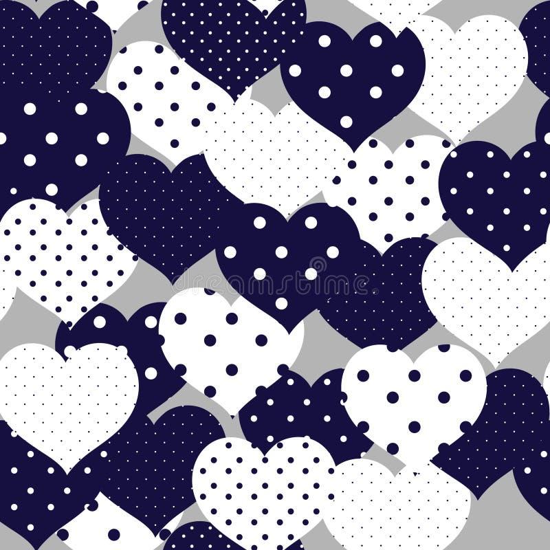 Bleu marine et modèle sans couture romantique de whiye avec à pois il illustration de vecteur