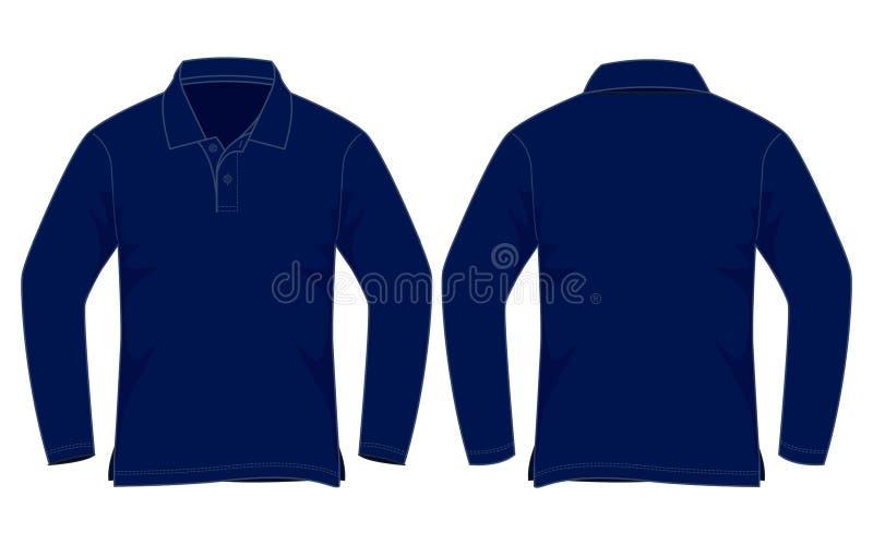 Bleu marine Polo Shirt Long Sleeve Vecor pour le calibre illustration de vecteur