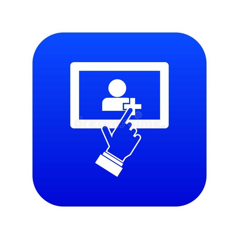 Bleu numérique d'icône de clic de comprimé d'écran tactile illustration stock