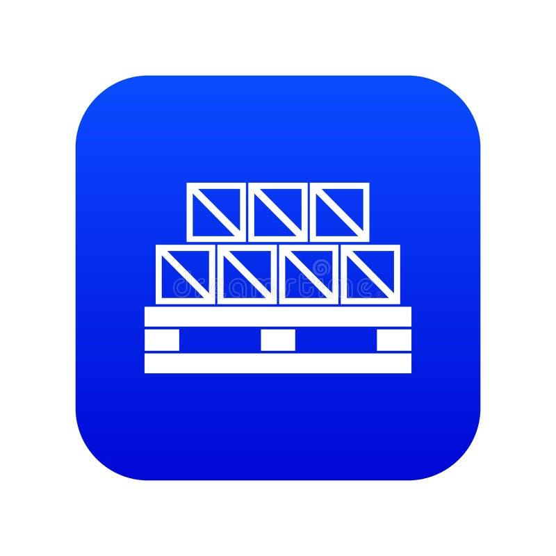 Bleu numérique d'icône de marchandises de boîtes illustration stock