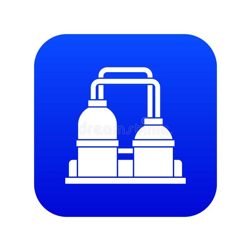 Bleu numérique d'icône d'usine de traitement d'huile illustration libre de droits