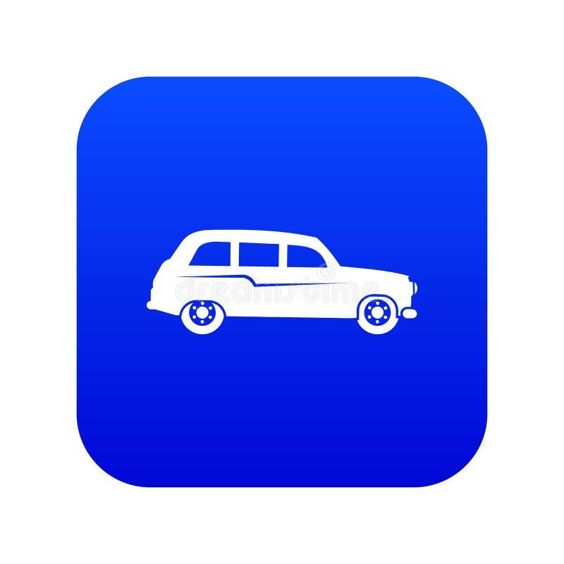 Bleu numérique de rétro icône de voiture illustration libre de droits