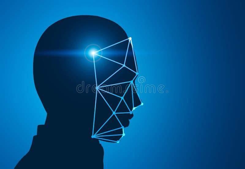Bleu principal de reconnaissance des visages de silhouette d'homme photographie stock