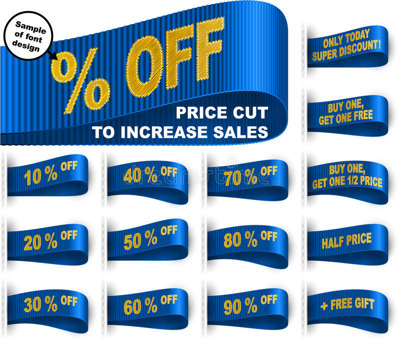 Bleu réglé de réduction des prix cousu par autocollant de label de vêtements d'étiquette de vente illustration de vecteur