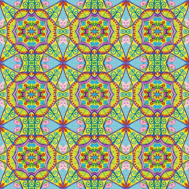 Bleu, rose, éléments floraux jaunes dans un modèle géométrique photographie stock