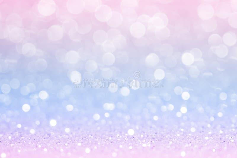 Bleu rose, bokeh rose, fond clair abstrait de cercle, lumières brillantes d'or rose, jour de valentines éclatant de scintillement image libre de droits