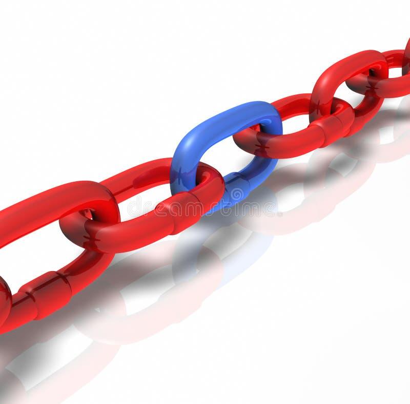 Bleu rouge de connexion à chaînes tirant le busi stabilisant illustration stock