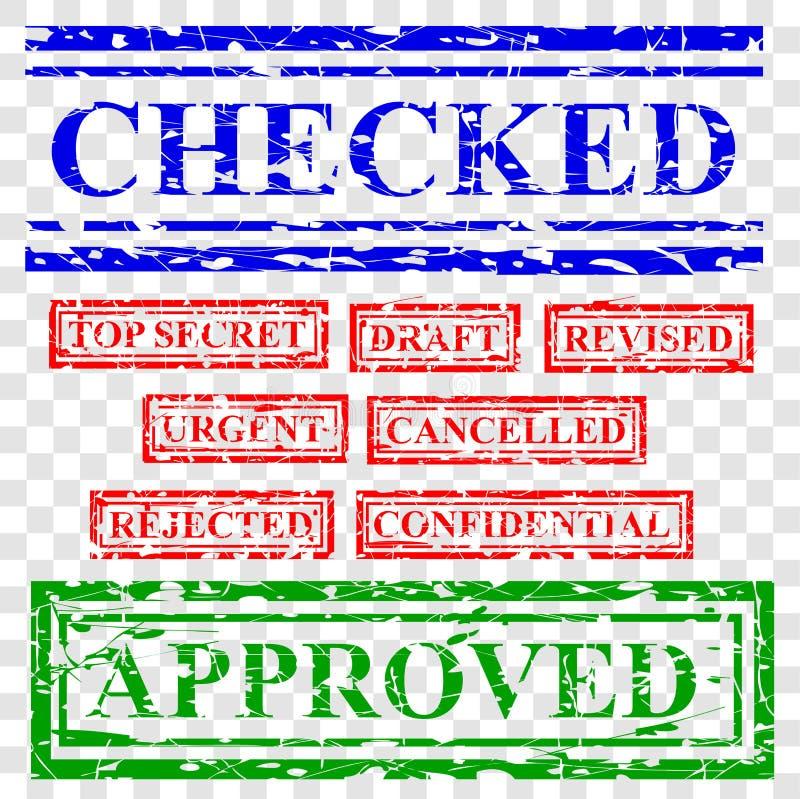 9 bleu rouge en caoutchouc et effet vert de timbre, offre de proposition de document connexe, vérifié, extrêmement secret, ébauch illustration libre de droits