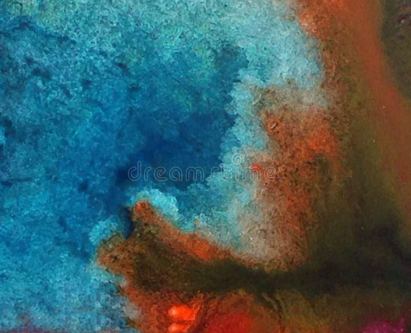 Bleu rouge texturisé coloré d'océan d'argile de l'eau de côte d'abrégé sur fond d'art d'aquarelle illustration libre de droits