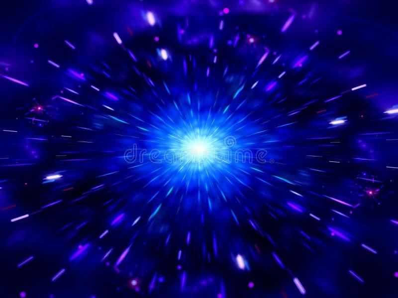 Bleu rougeoyant éclatant dans l'espace lointain avec des particules illustration de vecteur