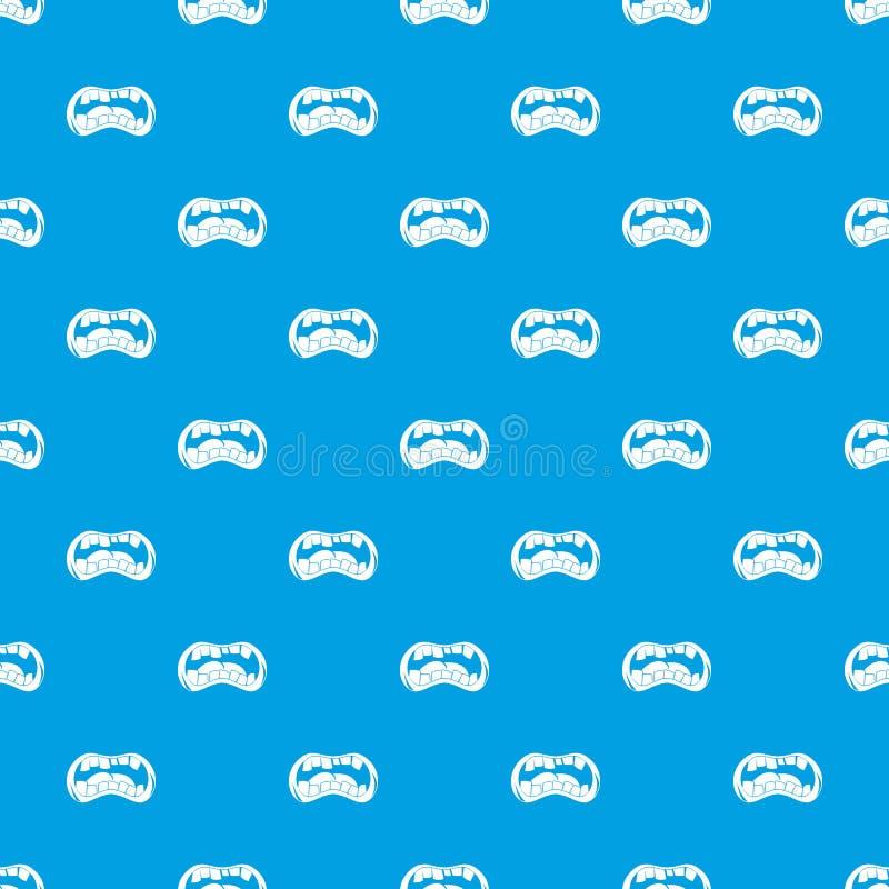 Bleu sans couture de modèle de bouche de zombi illustration de vecteur