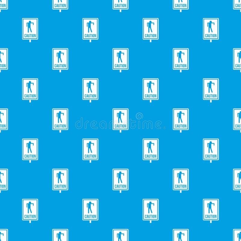 Bleu sans couture de modèle de panneau routier de zombi illustration libre de droits
