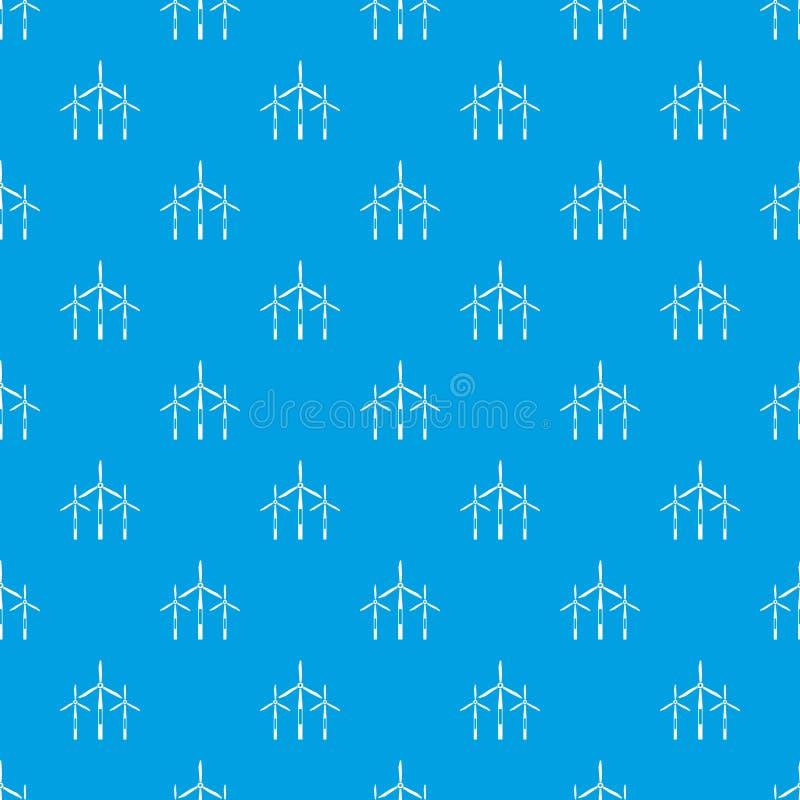 Bleu sans couture de modèle de turbines de générateur de vent illustration de vecteur