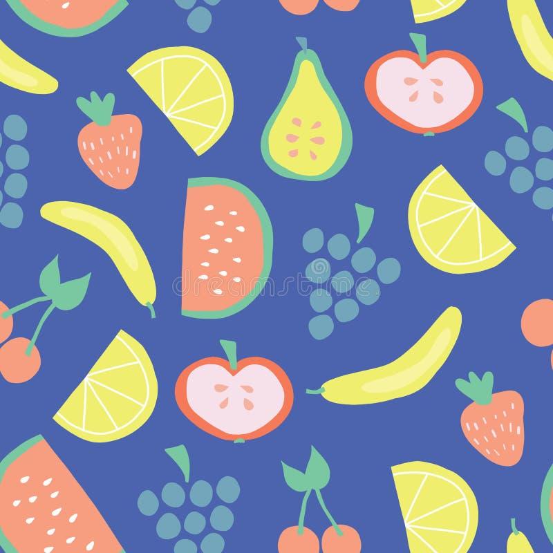 Bleu sans couture de modèle de vecteur de fruit d'été illustration stock