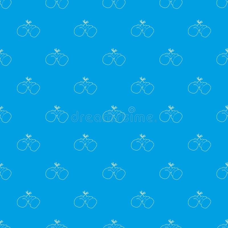 Bleu sans couture de vecteur de modèle de gants de boxe illustration stock