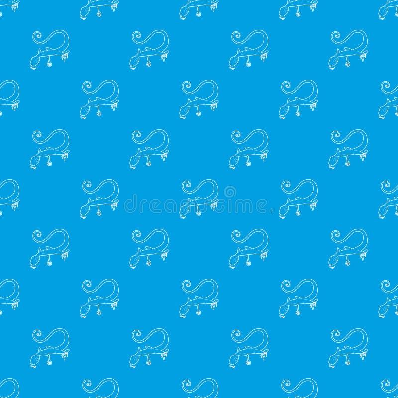 Bleu sans couture de vecteur de modèle de lézard illustration stock