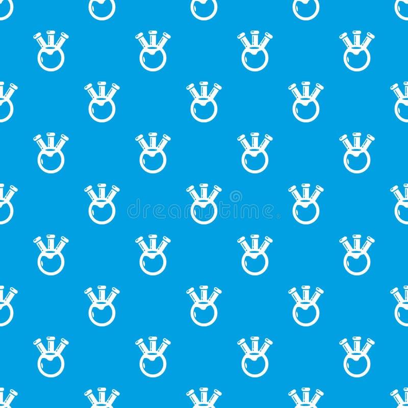 Bleu sans couture de vecteur de modèle de la science de chimie d'ampoule illustration libre de droits