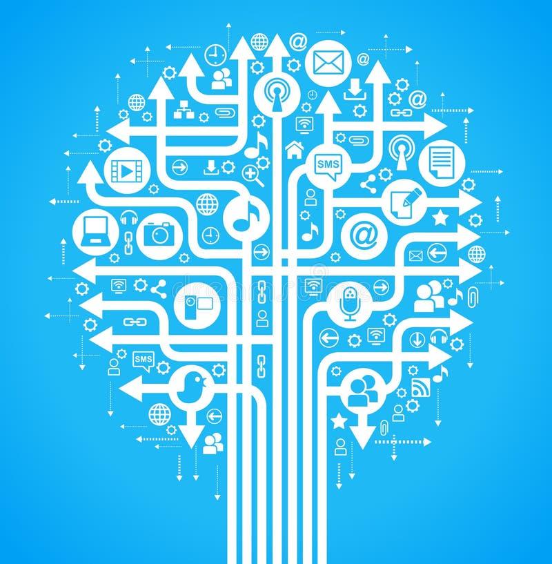bleu social d'arbre de réseau de fond