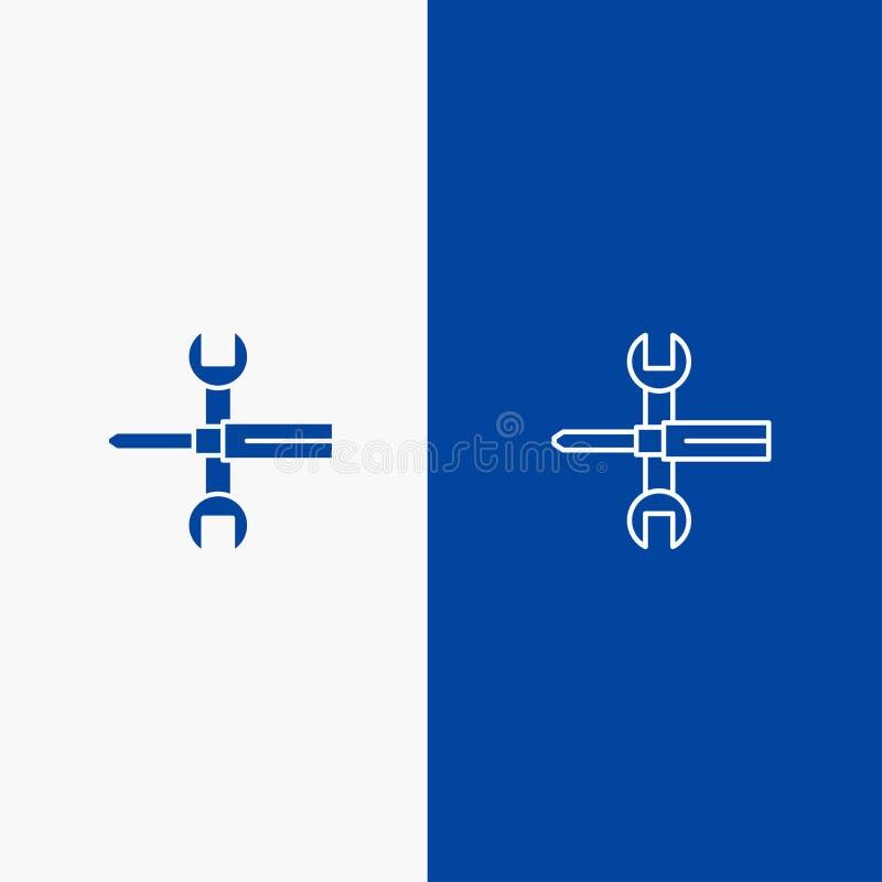 Bleu solide de bannière d'icône solide d'arrangements, de contrôles, de tournevis, de clé, d'outils, de ligne de clé et de Glyph  illustration libre de droits