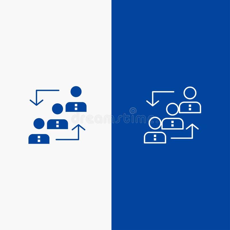 Bleu solide de bannière d'icône solide de carrière, d'avancement, d'employés, d'échelle, de promotion, de personnel, de ligne de  illustration de vecteur