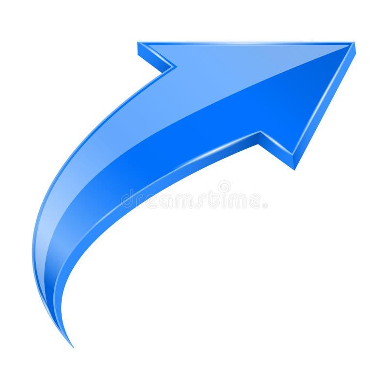 Bleu VERS LE HAUT de la flèche 3d illustration de vecteur