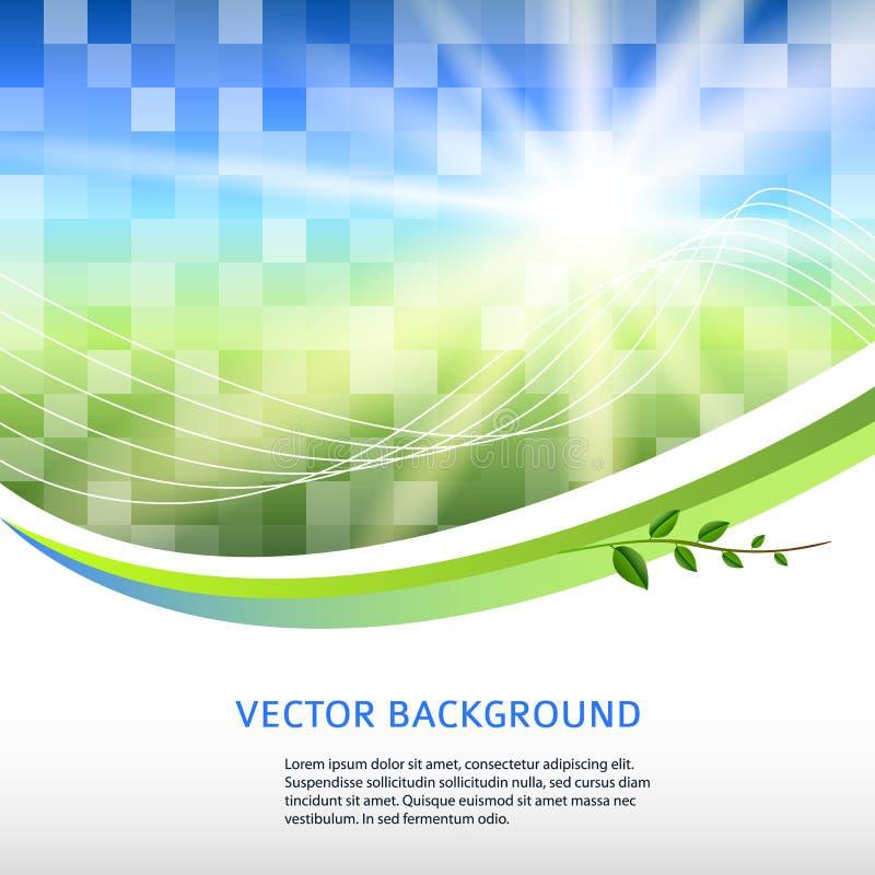 Bleu-vert-mosaïque-fond-place-label-produit illustration stock