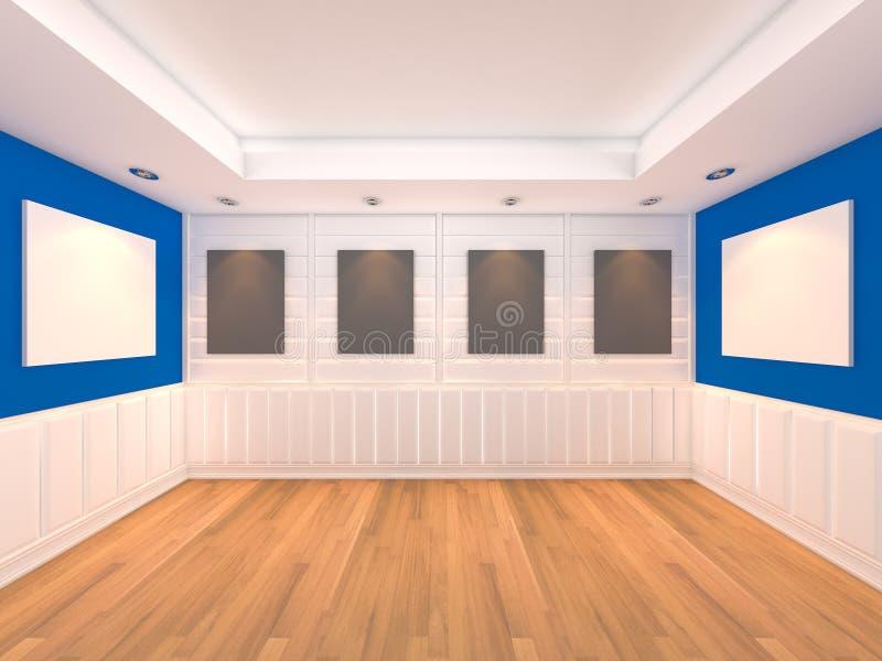 Bleu vide de pièce avec la rampe de trames illustration libre de droits