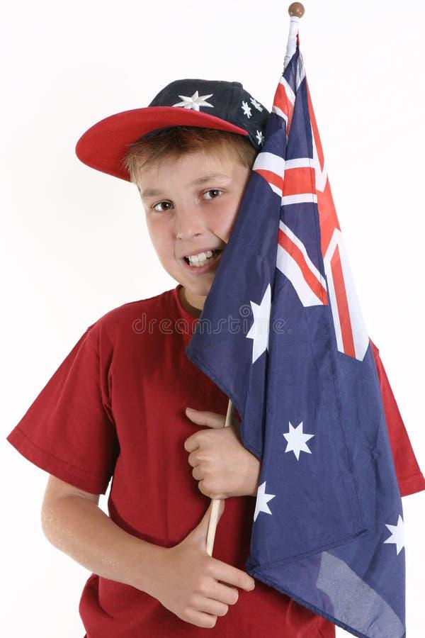 Bleu vrai - garçon patriote retenant l'indicateur australien images libres de droits