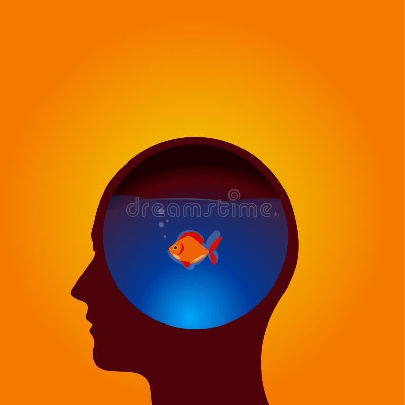 Bleus principaux d'icône d'idées de poisson rouge images libres de droits