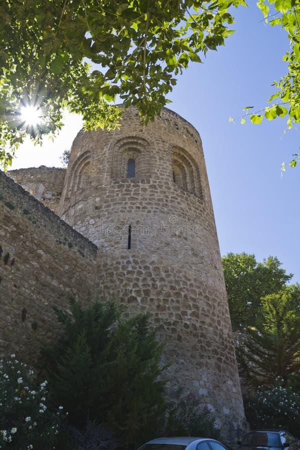 blev feodalt för bermejaslott som stärktes som lords mer krigare för slottpiedra s xii XII blev den stärkte slotten av fejd royaltyfria foton