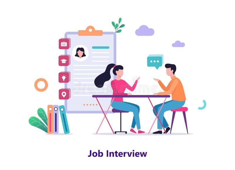 blev hysteriskt intervjujobb ett dem Konversation mellan arbetsgivaren och kandidaten stock illustrationer