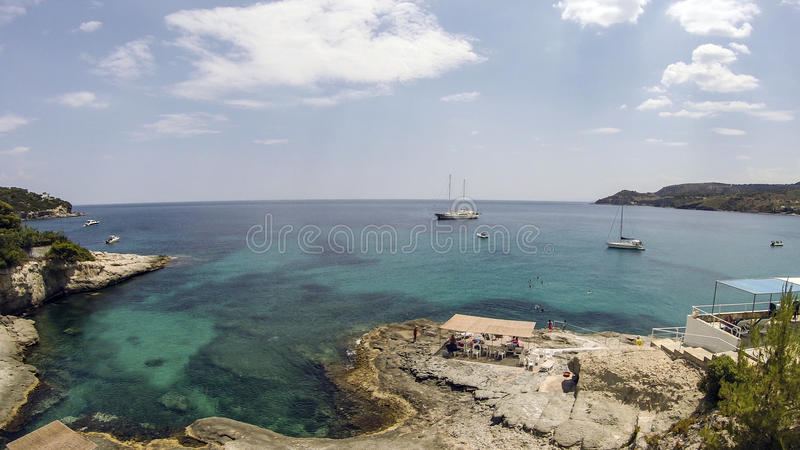 View from a veranda towards the sea in the island royalty free stock image