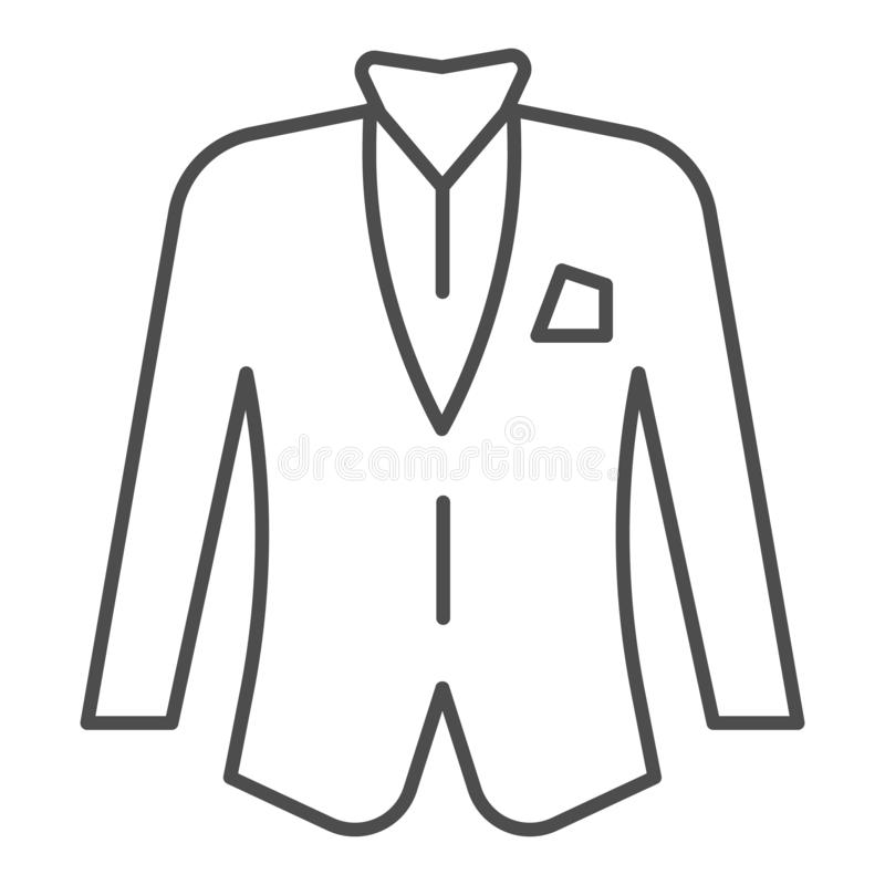 Blezer cienka kreskowa ikona Kurtki wektorowa ilustracja odizolowywająca na bielu Formalny ubrania konturu stylu projekt, projekt ilustracja wektor