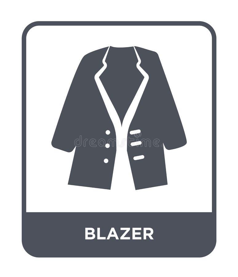 blezer ikona w modnym projekta stylu blezer ikona odizolowywająca na białym tle blezer wektorowej ikony prosty i nowożytny płaski royalty ilustracja