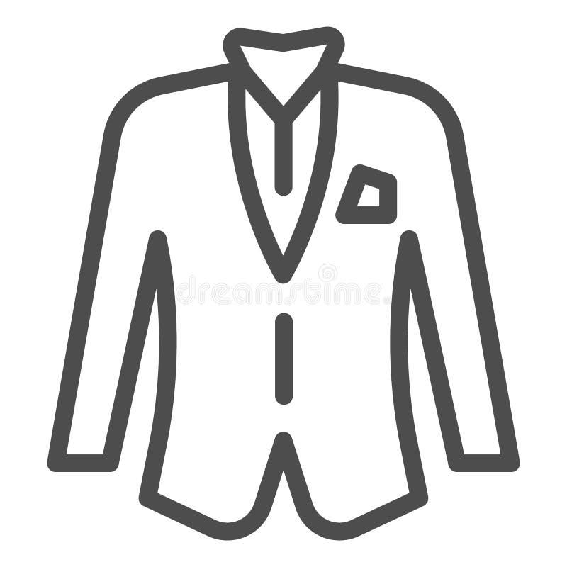 Blezer kreskowa ikona Kurtki wektorowa ilustracja odizolowywająca na bielu Formalny ubrania konturu stylu projekt, projektujący d royalty ilustracja