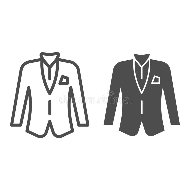 Blezer linia i glif ikona Kurtki wektorowa ilustracja odizolowywająca na bielu Formalny ubrania konturu stylu projekt, projektują royalty ilustracja