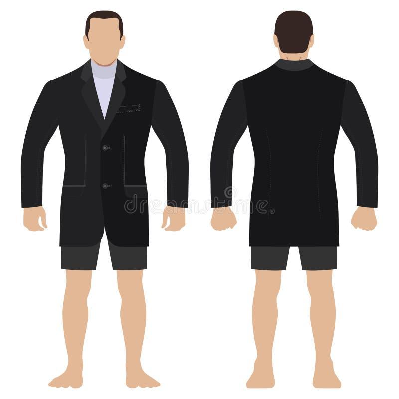 Blezer mody mężczyzny ciało folował długość szablonu postaci sylwetkę w skrótach royalty ilustracja