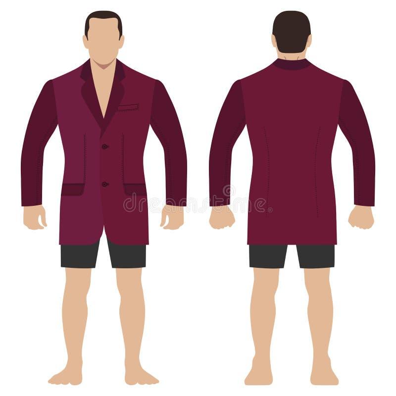 Blezer mody mężczyzny długości ciało folujący szablon ilustracja wektor