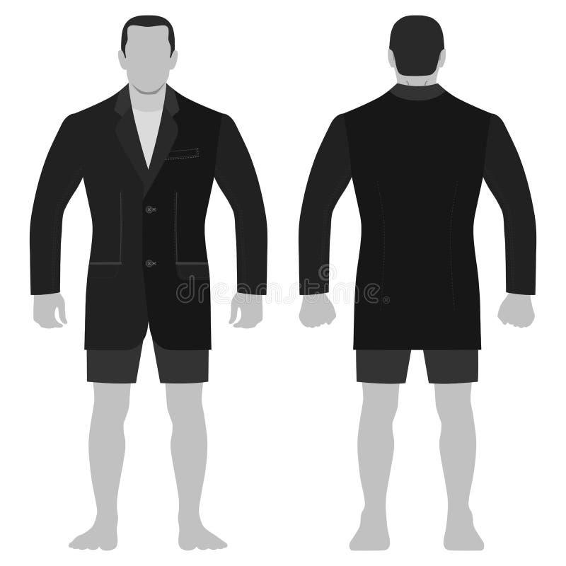 Blezer mody mężczyzny długości ciało folujący szablon ilustracji