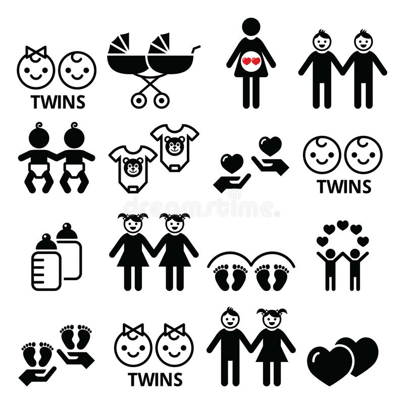 Bliźniacze dziecko ikony ustawiać - dwoisty pram, bliźniacza chłopiec i dziewczyna projekty, royalty ilustracja