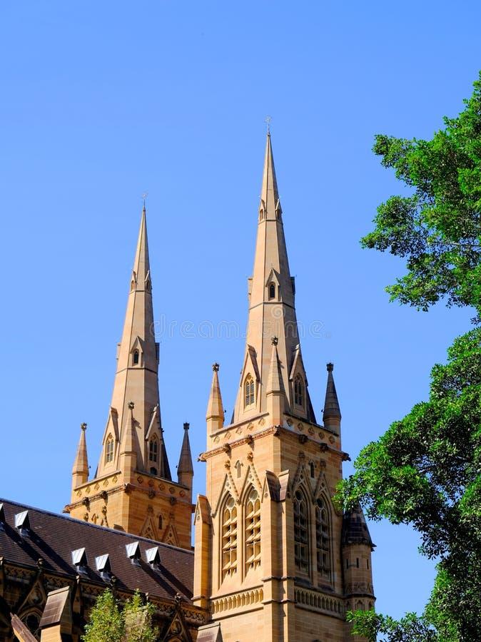 Bliźniacze iglicy, St ` s Maryjna katedra, Sydney, Australia obrazy stock