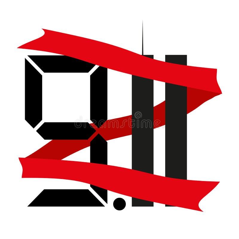 Bliźniacze wieże jedenasty Wrzesień dzień pamięć i żal 9 11 również zwrócić corel ilustracji wektora ilustracji