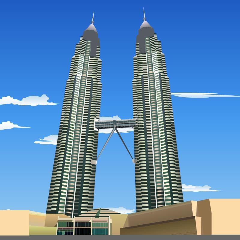 Bliźniacze wieże Petronas royalty ilustracja