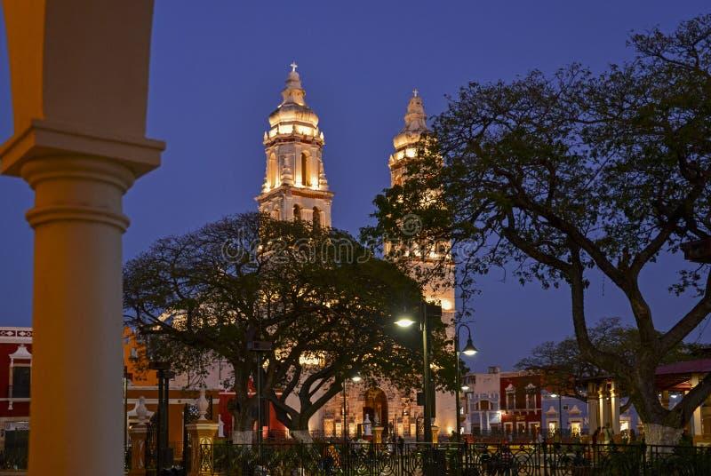 Bliźniaczej wieży katedra przy nocą zdjęcia royalty free