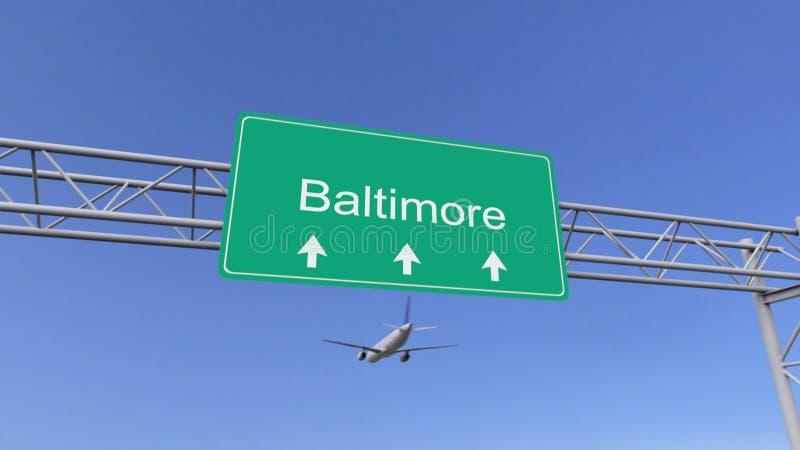 Bliźniaczy parowozowy handlowy samolot przyjeżdża Baltimore lotnisko Podróżować Stany Zjednoczone konceptualny 3D rendering royalty ilustracja