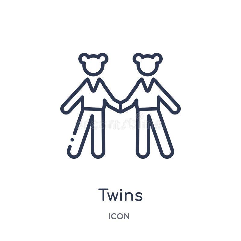 Bliźniak ikona od ludzi kontur kolekcji Cienieje kreskową bliźniak ikonę odizolowywającą na białym tle ilustracji