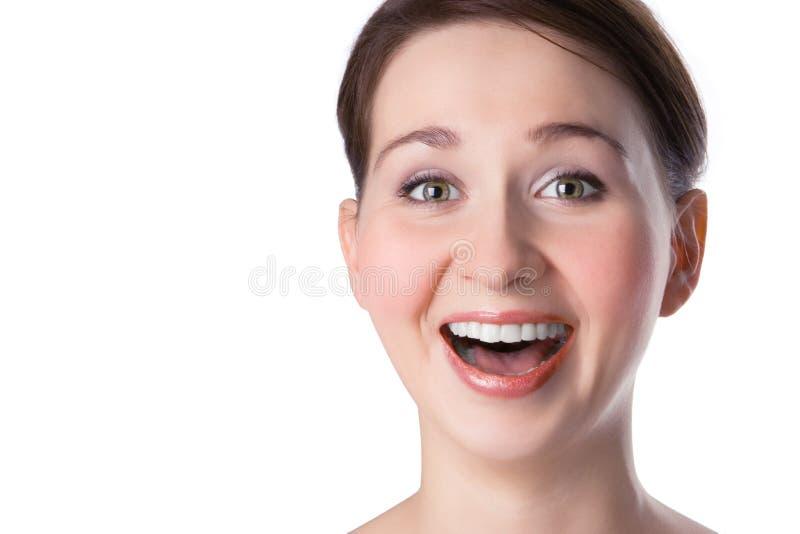 bliżej szczęśliwego portret kobiety wystarczy podnieść obraz stock