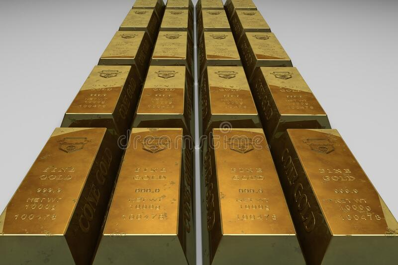 Bli grund fokusfotoet av guld- stänger arkivfoto